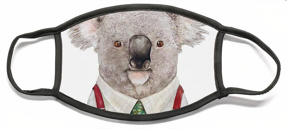 Koala Face Mask featuring the painting Koala by Animal Crew