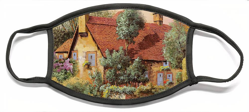 English House Face Mask featuring the painting La Casa Inglese by Guido Borelli