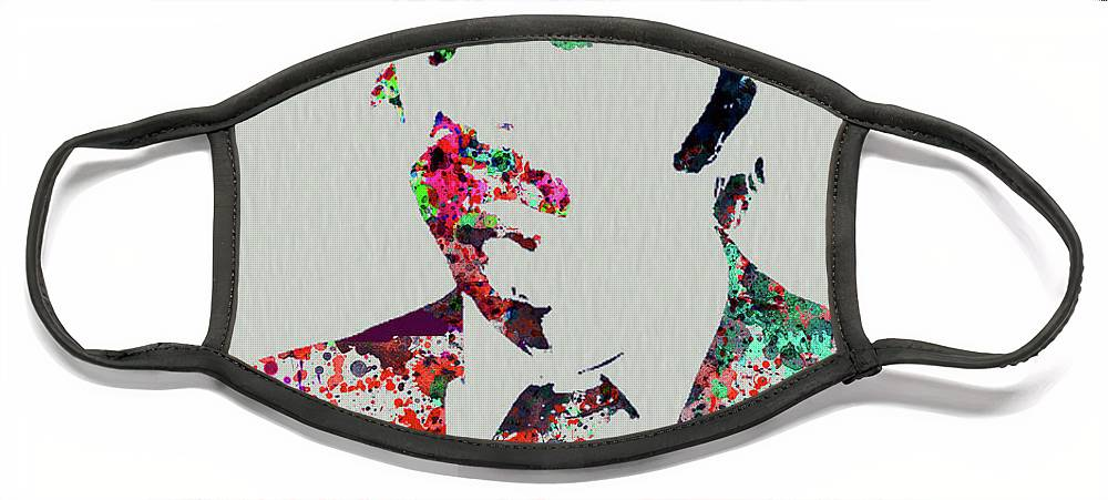 Beatles Face Mask featuring the mixed media Legendary George Harrison Watercolor III by Naxart Studio