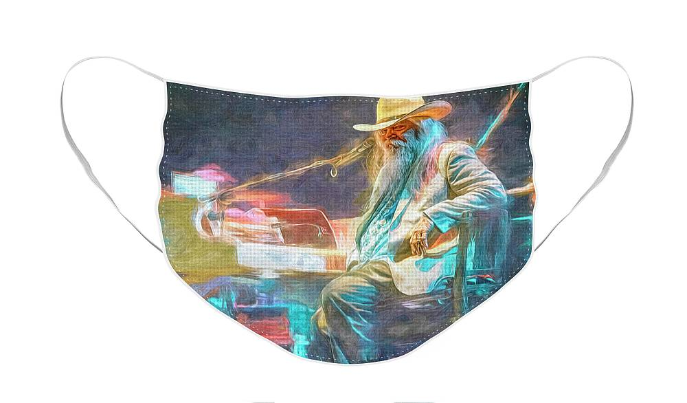 Leon Russell Face Mask featuring the mixed media Leon Russell by Mal Bray