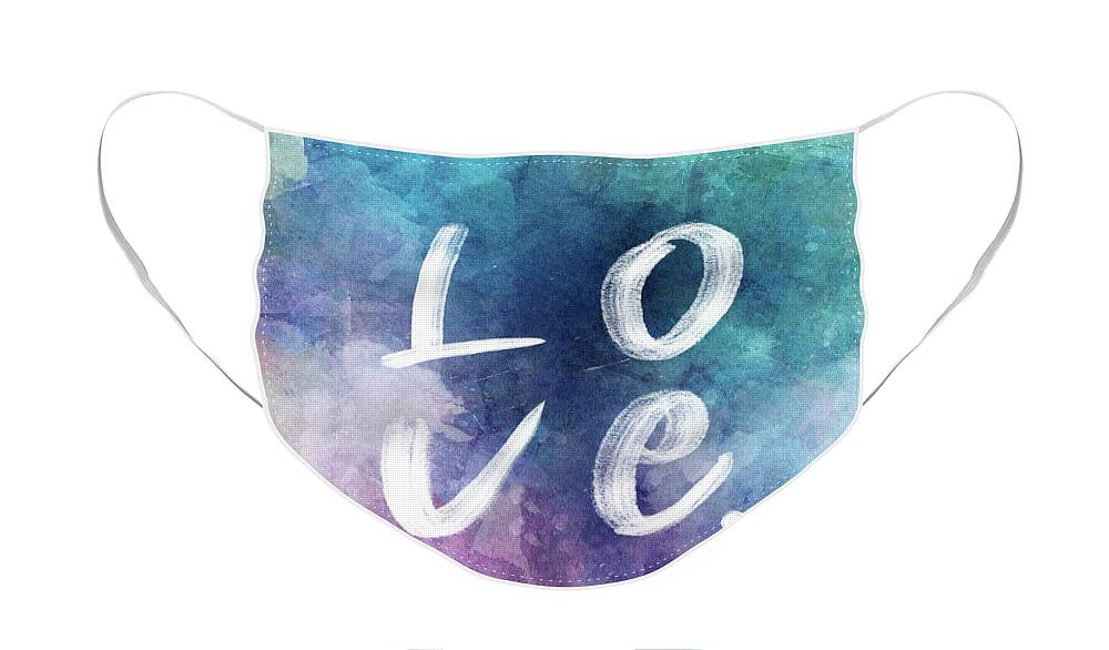 Love Face Mask featuring the painting Love watercolor in a blue square by Delphimages Photo Creations