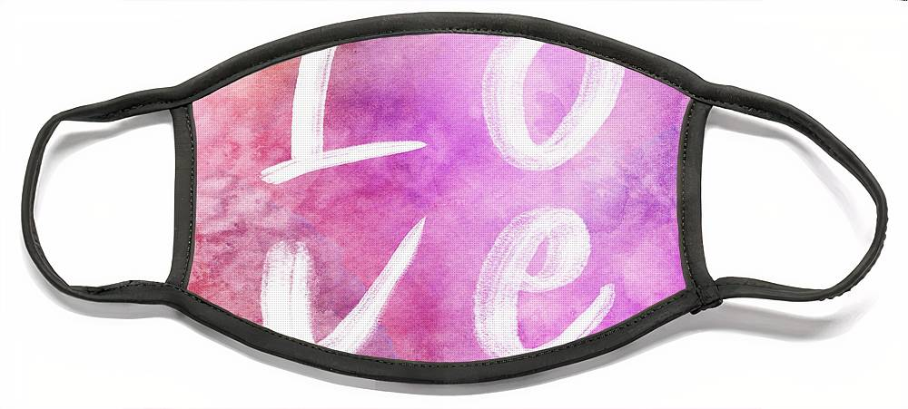 Love Face Mask featuring the painting Love watercolor in a pink square by Delphimages Photo Creations