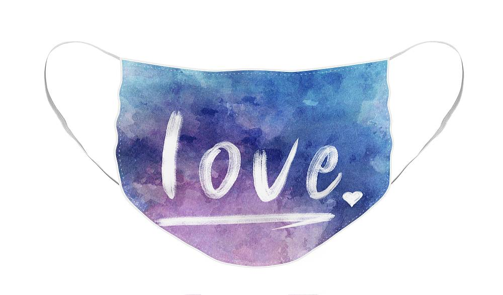 Love Face Mask featuring the painting Love watercolor in blue by Delphimages Photo Creations