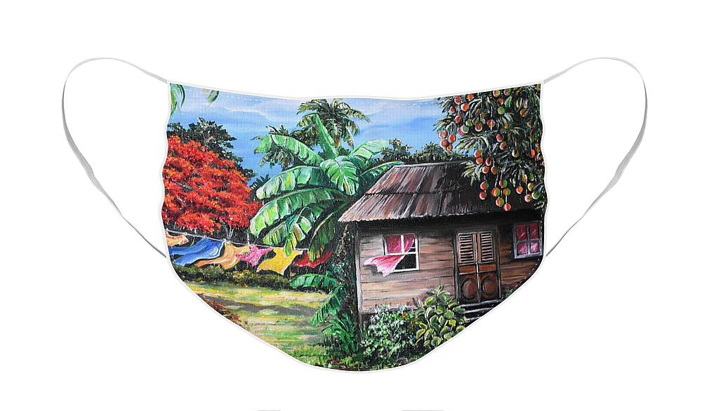 Old House Face Mask featuring the painting Mango Season by Karin Dawn Kelshall- Best