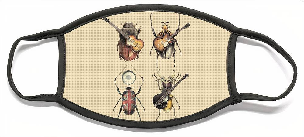 Beatles Face Mask featuring the digital art Meet the Beetles by Eric Fan