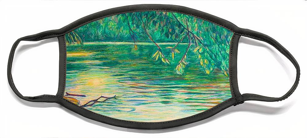 Landscape Face Mask featuring the painting Mid-Spring on the New River by Kendall Kessler