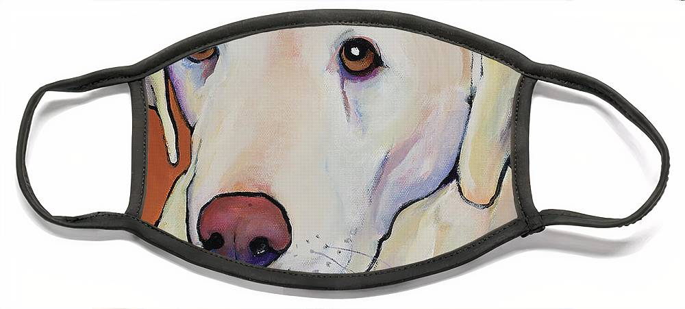 Yellow Lab Face Mask featuring the painting Mille by Pat Saunders-White