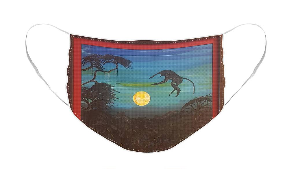 Moonlight Baboon Face Mask featuring the photograph Moonlight Baboon by Quintus Curtius