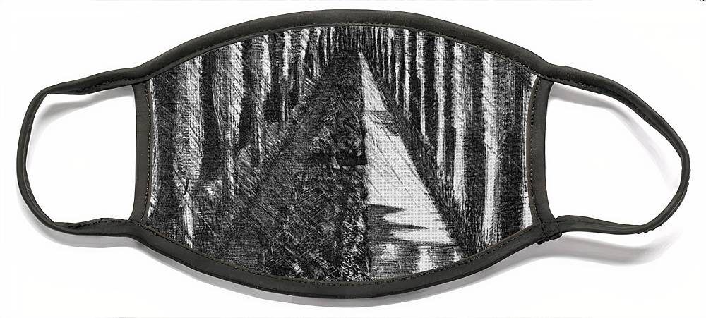 B1019 Face Mask featuring the drawing Men Marching At Night, 1918 by Paul Nash