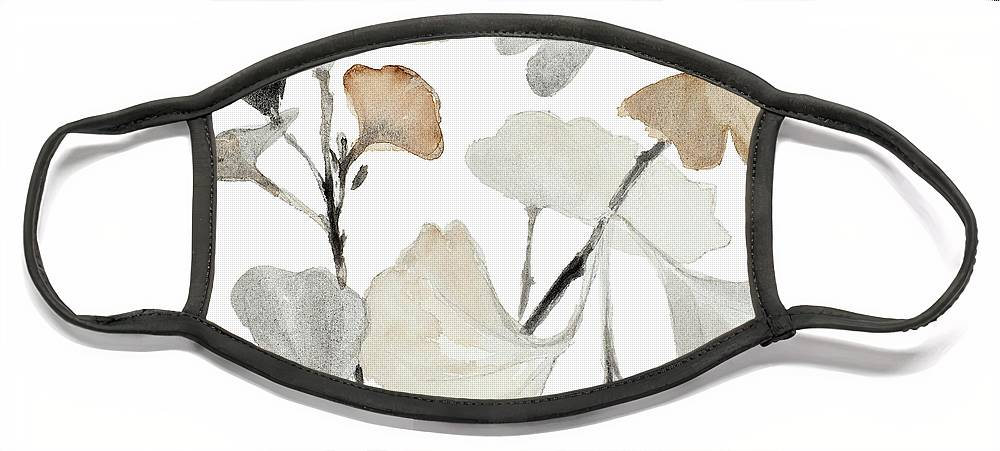 Neutral Face Mask featuring the painting Neutral Ginko Stems I by Lanie Loreth