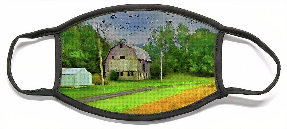 Cedric Hampton Face Mask featuring the photograph Old Barn In The Midwest by Cedric Hampton