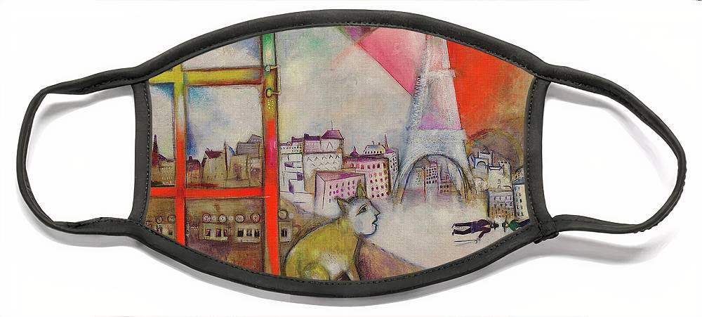 Marc Chagall Face Mask featuring the painting Paris Through the Window - Paris par la fenetre, 1913 by Marc Chagall