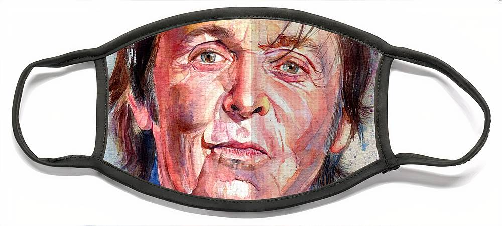 Paul Face Mask featuring the painting Paul McCartney Watercolor by Suzann Sines