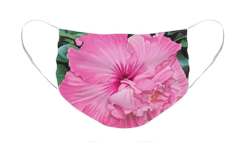 Pink Face Mask featuring the painting Pink Hibiscus by Christopher Spicer