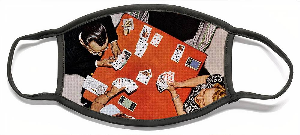 Bridge Face Mask featuring the drawing Playing Cards by Norman Rockwell