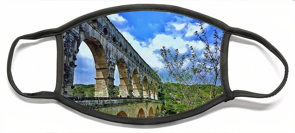 Europe Face Mask featuring the digital art Pont Du Gard by Scott Waters