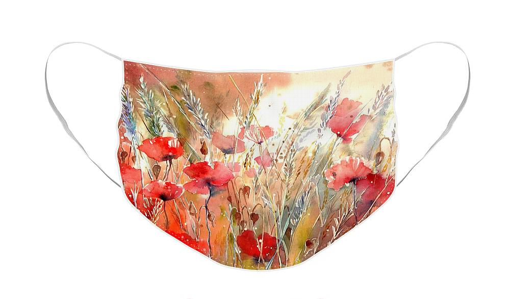 Red Face Mask featuring the painting Poppy Fields Forever by Suzann Sines