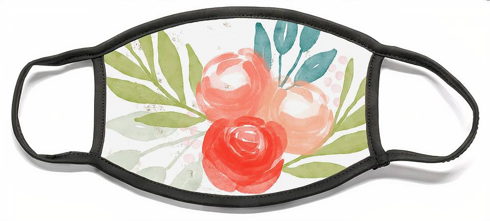 Roses Face Mask featuring the mixed media Pretty Coral Roses - Art by Linda Woods by Linda Woods