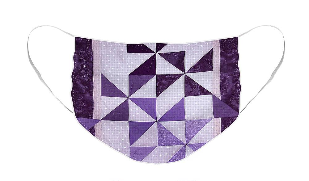 Art Quilt Face Mask featuring the tapestry - textile Purple Pinwheels Pirouetting by Pam Geisel
