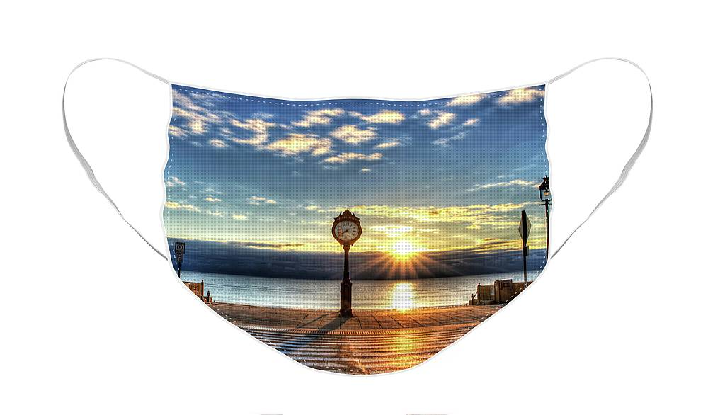 Revere Face Mask featuring the photograph Revere Beach Clock at Sunrise Angled Long Shadow Revere MA by Toby McGuire