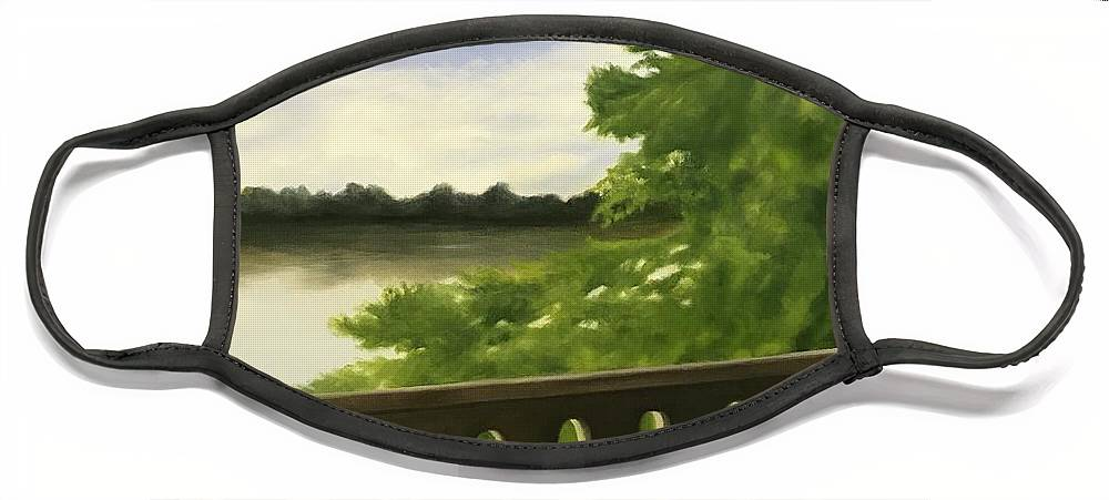 Bridge Face Mask featuring the painting Serenirty by Sheila Mashaw