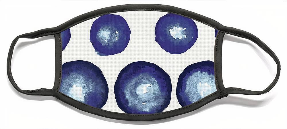 Shibori Face Mask featuring the mixed media Shibori Dots by Elizabeth Medley