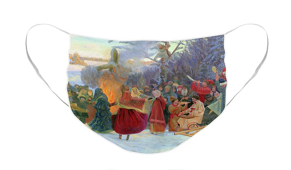 Winter Face Mask featuring the painting Shrovetide. Farewell to Winter. XVII Century by Simon Kozhin