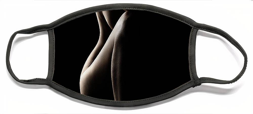 Nude Face Mask featuring the photograph Silhouette of nude woman by Johan Swanepoel
