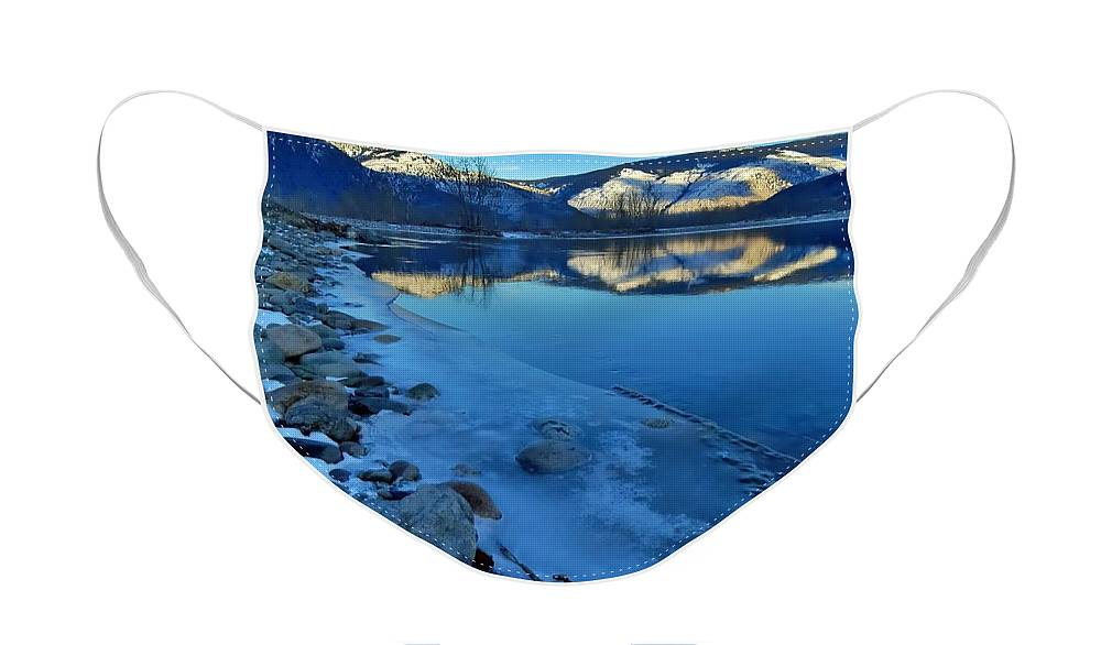 River Face Mask featuring the photograph Snowy Mountains Along the Similkameen River by Tara Turner
