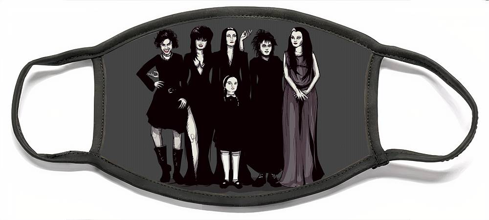 Craft Face Mask featuring the drawing Spooky Girls by Ludwig Van Bacon