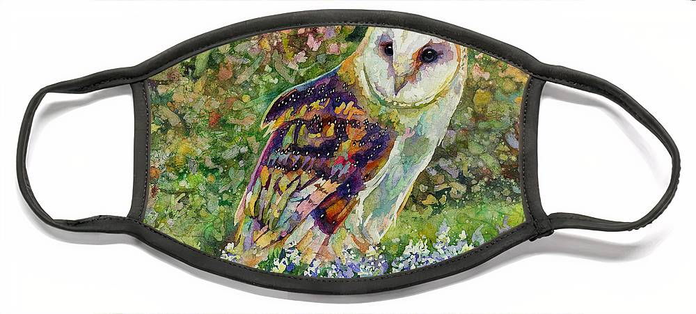 Owl Face Mask featuring the painting Spring Attraction by Hailey E Herrera