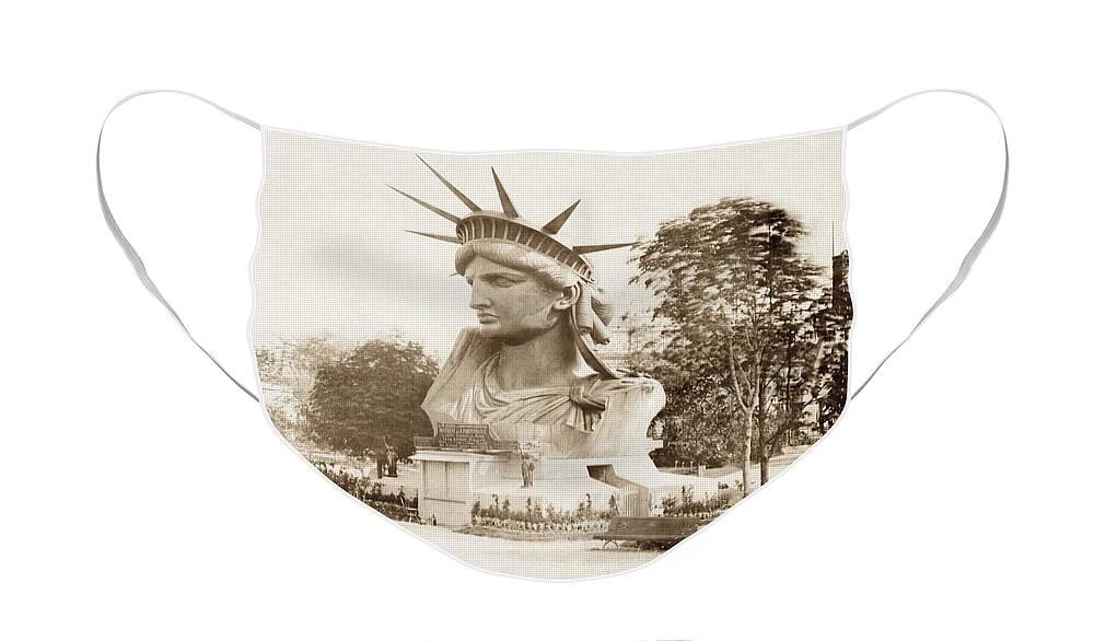 Statue Of Liberty Face Mask featuring the photograph Statue of Liberty Head circa 1882 by Jon Neidert