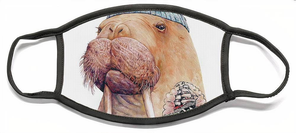 Tattoo Face Mask featuring the painting Tattooed Walrus by Animal Crew