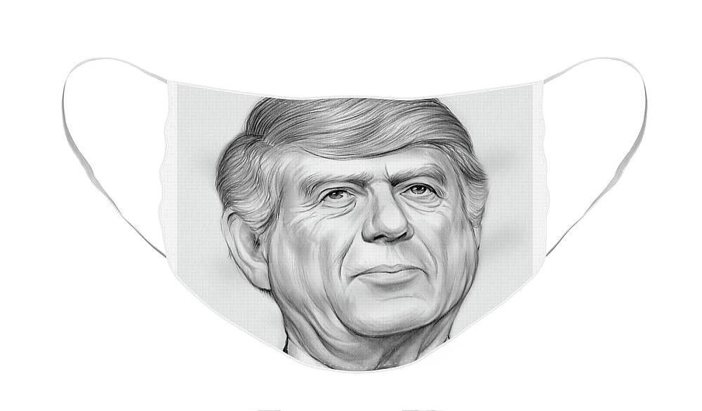 Ted Koppel Face Mask featuring the drawing Ted Koppel by Greg Joens