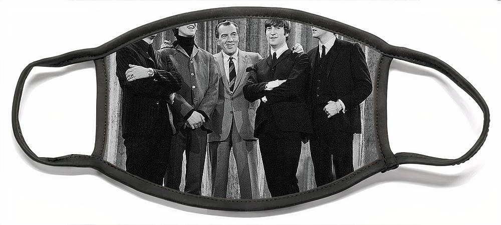 The Beatles Face Mask featuring the photograph the beatles and ed sullivan - February, 1964 by Mountain Dreams
