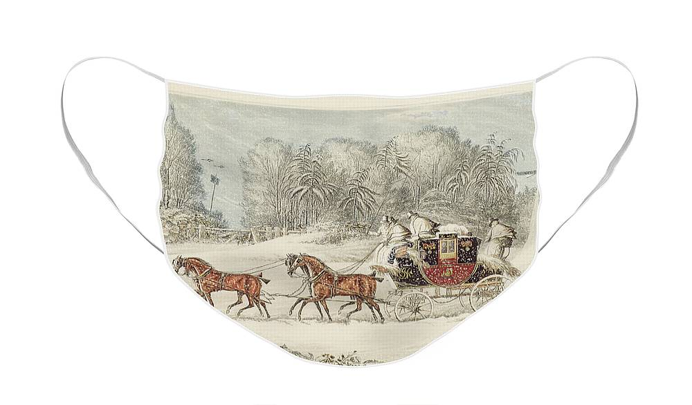 The Mail Coach In A Storm Of Snow Face Mask featuring the painting The Mail Coach In A Storm Of Snow 1825 by James Pollard