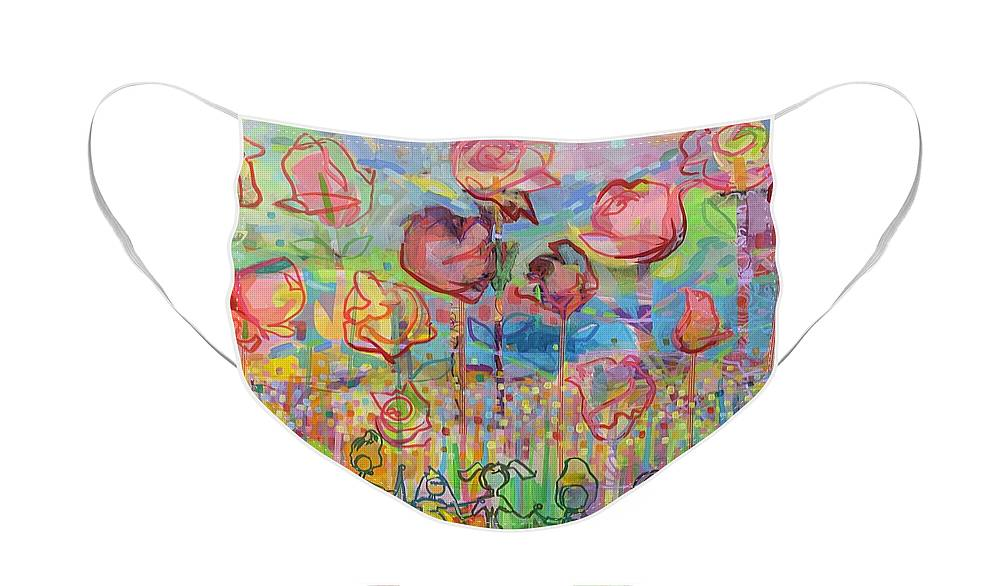 Garden Face Mask featuring the painting The Rose Garden, Love Wins by Kimberly Santini