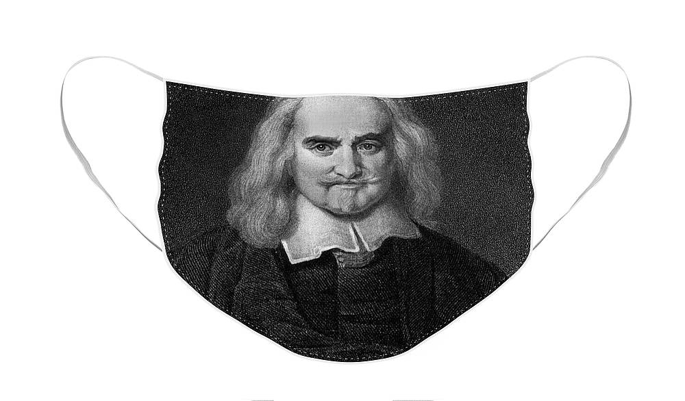 Historical Face Mask featuring the drawing Thomas Hobbes English Philosopher, Engraving by European School