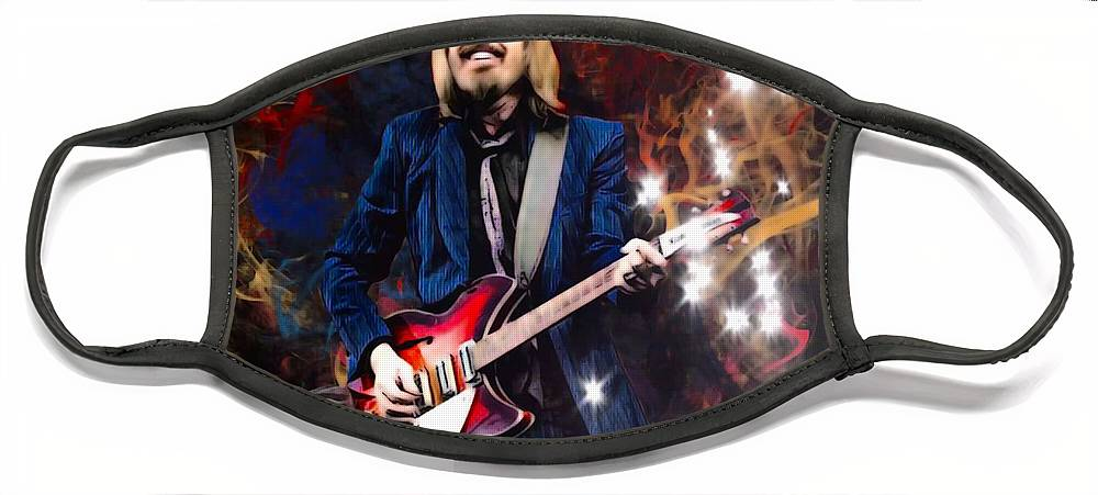 Tom Petty Face Mask featuring the digital art Tom Petty Portrait by Scott Wallace Digital Designs