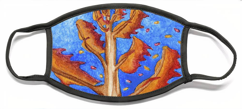 Nature Face Mask featuring the painting Tree in Autumn Wind I by Robert Morin