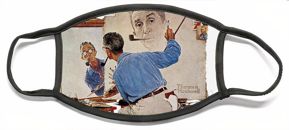 Artists Face Mask featuring the drawing Triple Self-portrait by Norman Rockwell