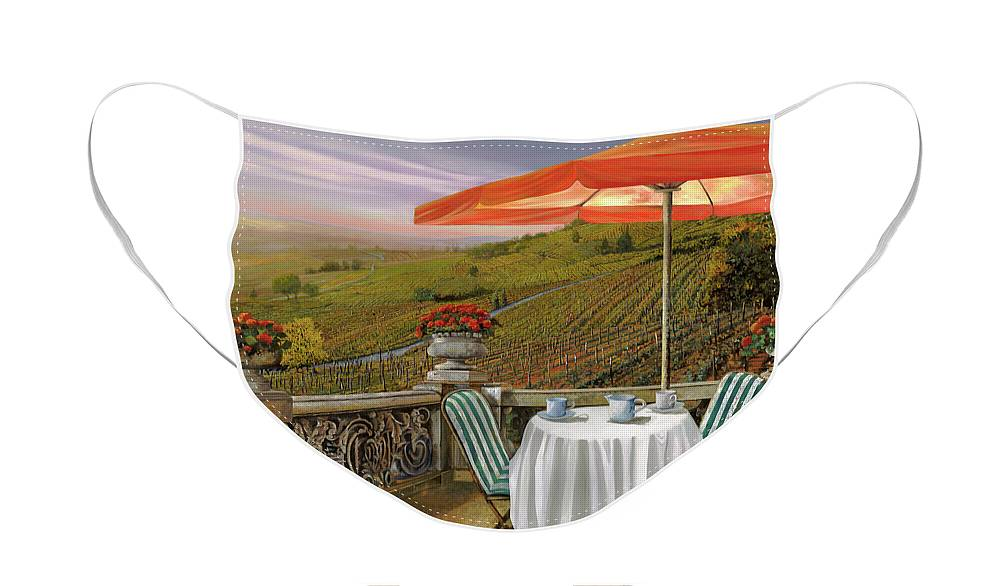 Vineyard Face Mask featuring the painting Un Caffe' Nelle Vigne by Guido Borelli