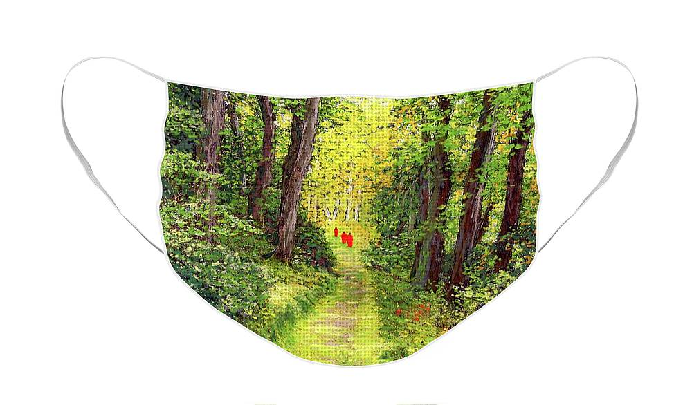 Meditation Face Mask featuring the painting Walking Meditation by Jane Small
