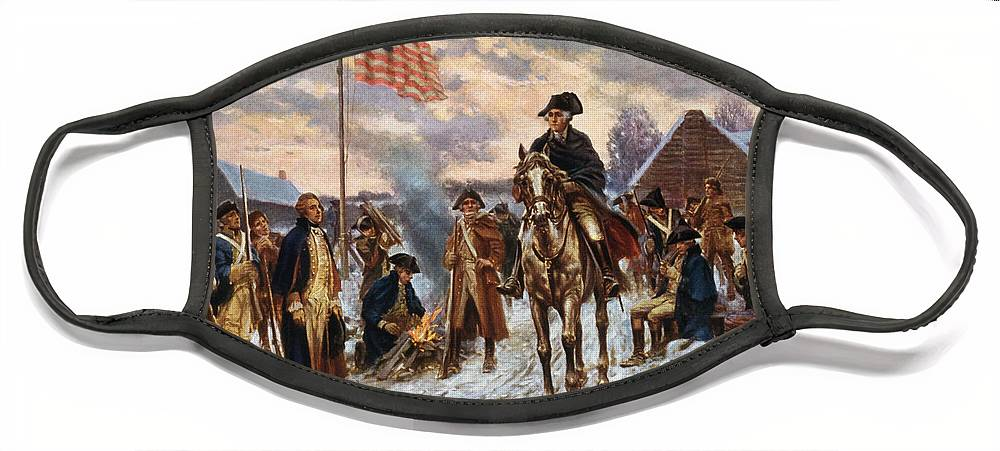 George Washington Face Mask featuring the painting Washington at Valley Forge by War Is Hell Store