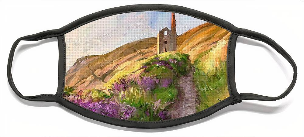 Mine Cornwall Portreath Painting England Face Mask featuring the digital art Wheal Coates - Cornwall by Scott Waters