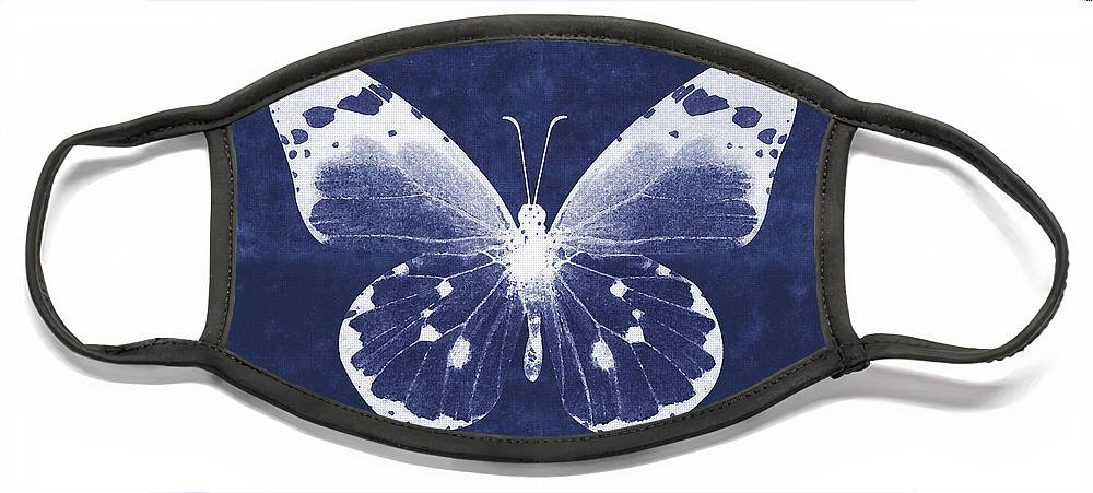 Butterfly Face Mask featuring the mixed media White and Indigo Butterfly 1- Art by Linda Woods by Linda Woods