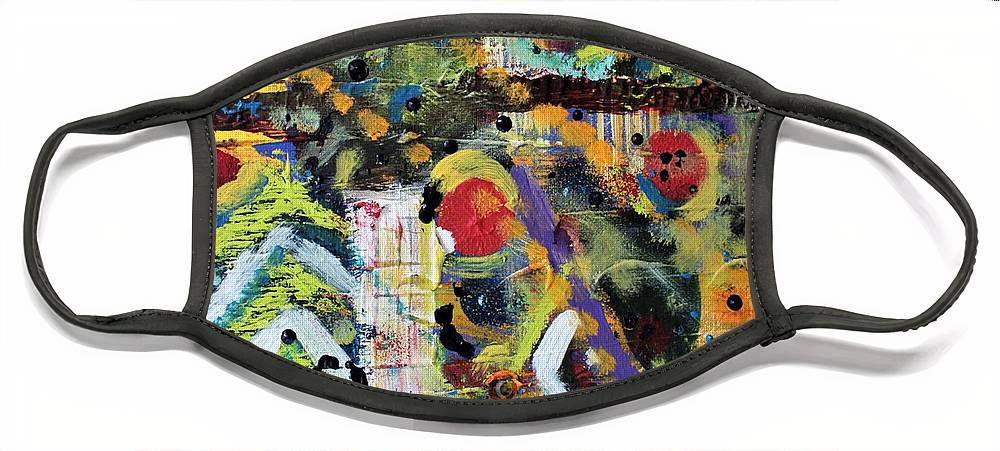 Nature Face Mask featuring the painting Who What Where by Pam Roth O'Mara