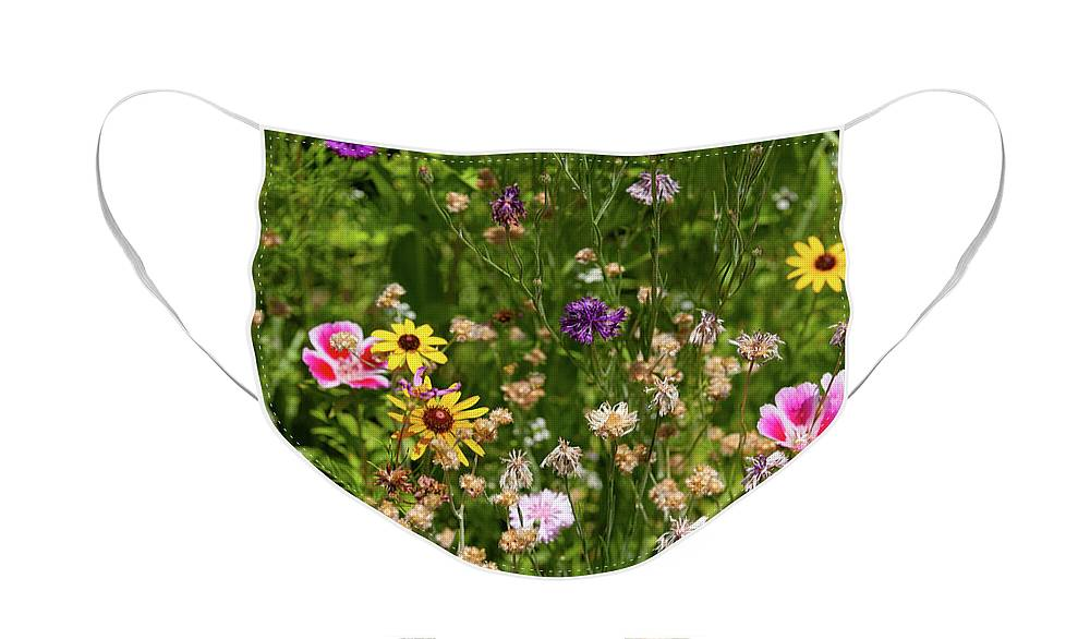 Wallart Face Mask featuring the photograph Wildflowers by John Heywood