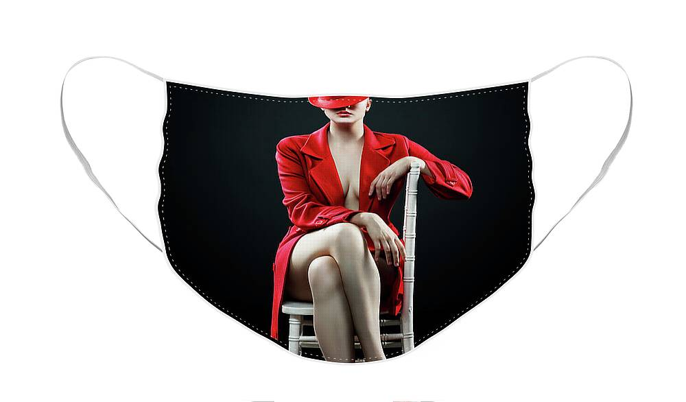 Woman Face Mask featuring the photograph Woman in red by Johan Swanepoel