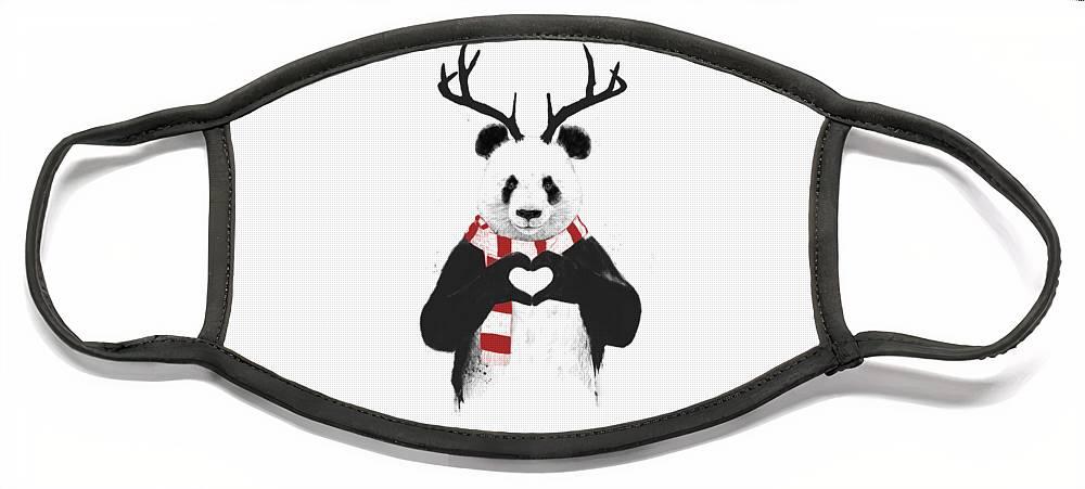 Panda Face Mask featuring the drawing Xmas panda by Balazs Solti
